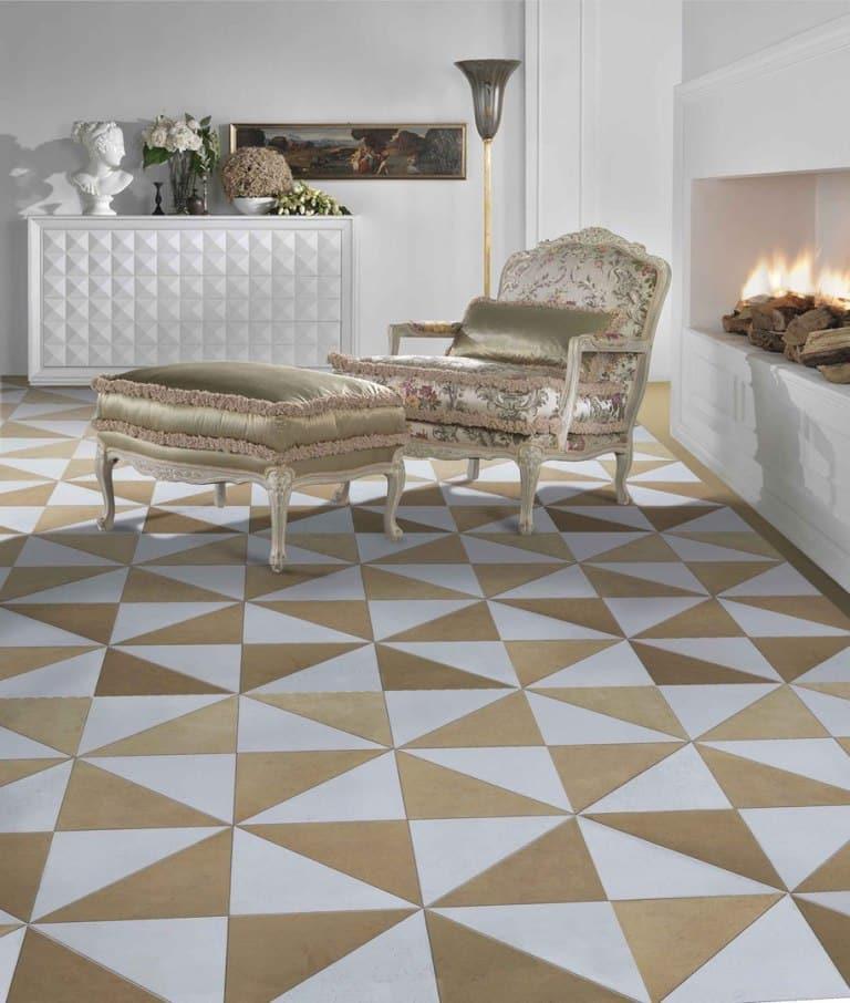 lantai dengan tampilan geometris